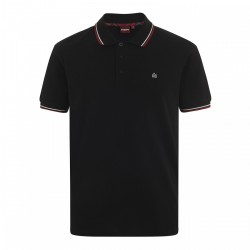 Merc CARD Polo Shirt Short Sleeved BLACK With Red And White