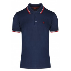 Merc CARD Polo Shirt Short Sleeved NAVY With Red And White
