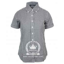 Short Sleeve Buttom Down RELCO Gingham BLACK Ladies Shirt