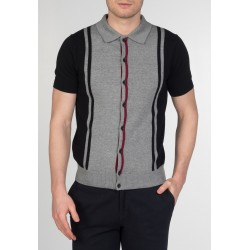 MERC PUTNEY , Vertical Stripe Knit Polo - BLACK