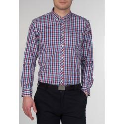 MERC SUNBURY Long Sleeved Check Shirt - RED/BLUE