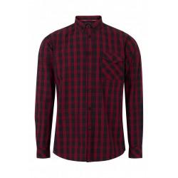 MERC BRIXTON Long Sleeved Check Shirt - BLACK/RED