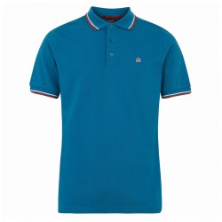 Merc CARD Polo Shirt Short Sleeved BRIGHT BLUE With Red And White