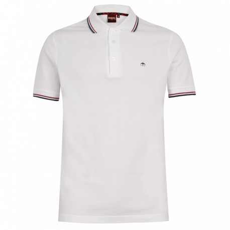Merc CARD Polo Shirt Short Sleeved WHITE with Blue And Red