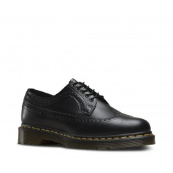 Dr. Martens 3 Eyelet Shoe 3989 Wintip Brogue Smooth - BLACK