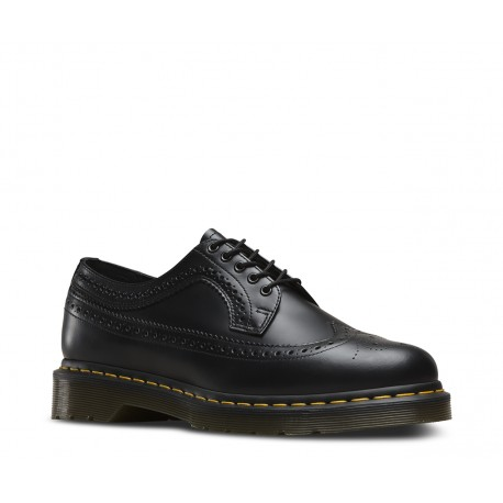 Dr. Martens 3 Eyelet Shoe 3989 Wintip Brogue Smooth - BLACK
