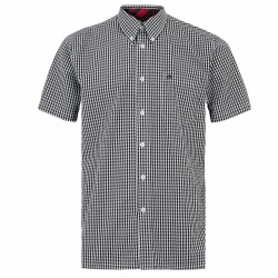 Short sleeve buttom down shirt TERRY - BLACK