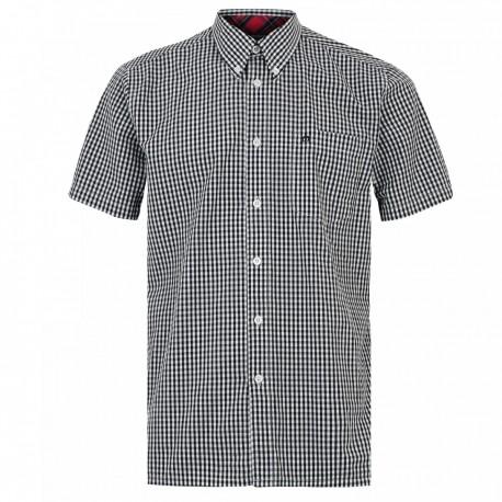 Short sleeve buttom down shirt TERRY - BLACK