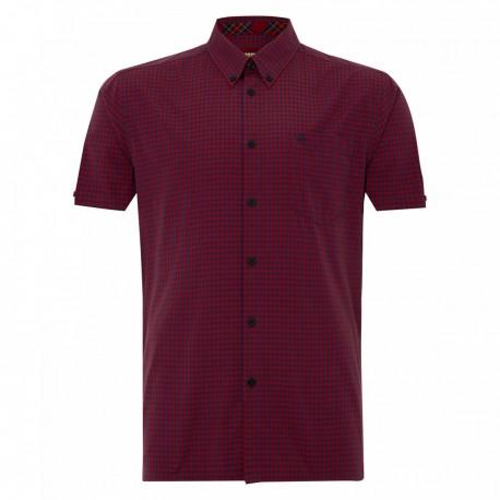Short sleeve buttom down shirt TERRY - RED/BLUE