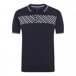 Merc IDAN Polo Shirt Short Sleeved NAVY