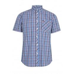 Short sleeve buttom down shirt SALUTE S/S Check Shirt - BLUE