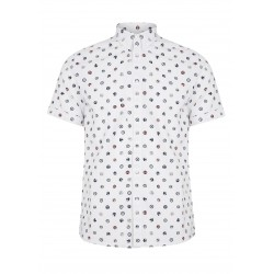 Short sleeve buttom down shirt PATROL S/S Badge Print - WHITE