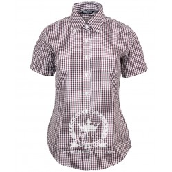 RELCO Camisa Chica Manga Corta Button-Down -  Gingham BURDEOS