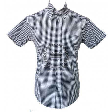 Short Sleeve Buttom Down RELCO Gingham BLACK / WHITE Shirt