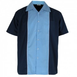 RELCO Short Sleeve Bowling Shirt - NAVY / SKY