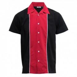 Short sleeve Bowling Shirt BLACK / RED
