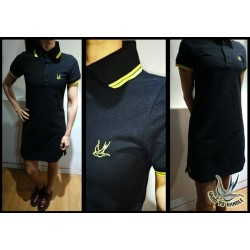 Hard To Handle  Polo Dress - BLACK-YELLOW