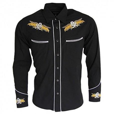 Rockabilly Shirt - BLACK With Skull