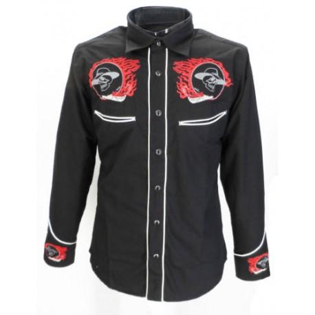 Rockabilly Shirt - BLACK With Rider