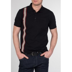 MERC GOLDHAWK , vertical Stripe Knit Polo - BLACK