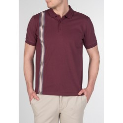 MERC GOLDHAWK , vertical Stripe Knit Polo - WINE