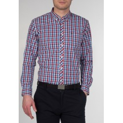 MERC SUNBURY Long Sleeved Check Shirt - RED/BLUE
