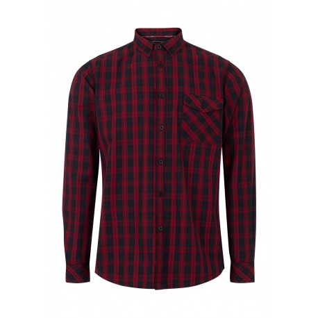 MERC BRIXTON Long Sleeved Check Shirt - BLACK/RED