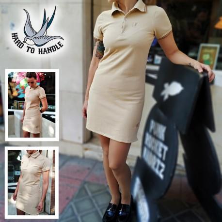 Girls HTH Polo Dress sleeveless - BLACK / Whilte, Orange