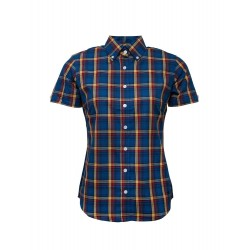 Short Sleeve Buttom Down RELCO BLUE CHECK Ladies Shirt