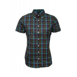 Short Sleeve Buttom Down RELCO GREEN CHECK Ladies Shirt
