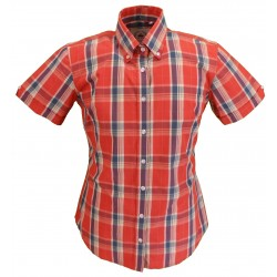 Short Sleeve Buttom Down RELCO BURNT ORANGE Ladies Shirt