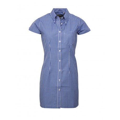 Short Sleeve Buttom Down RELCO GINGHAM NAVY  Ladies  DRESS
