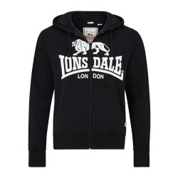 LONSDALE Hooded Sweatshirt Krafty With Zip - BLACK / White