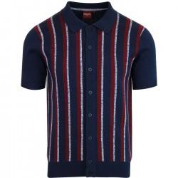 Merc WILMOT KNIT Polo Shirt Short Sleeved - NAVY