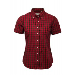 Short Sleeve Buttom Down RELCO RED TARTAN Ladies Shirt