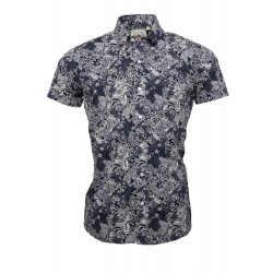 RELCO Short Sleeve Button-Down - NAVY PRINT