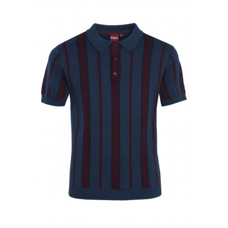 Merc MARMOT KNIT Polo Shirt Short Sleeved - NAVY