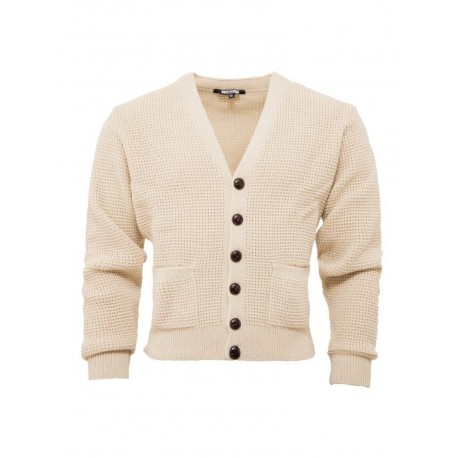 RELCO Mens Waffle Knit Cardigan with Football Style Buttons - STONE