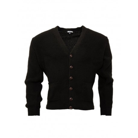 RELCO Mens Waffle Knit Cardigan with Football Style Buttons - BLACK