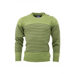 RELCO Mens Stripe Jumper with Anchor Shoulder Buttons - GREEN