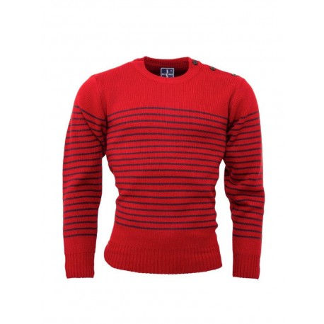 RELCO Mens Stripe Jumper with Anchor Shoulder Buttons - RED