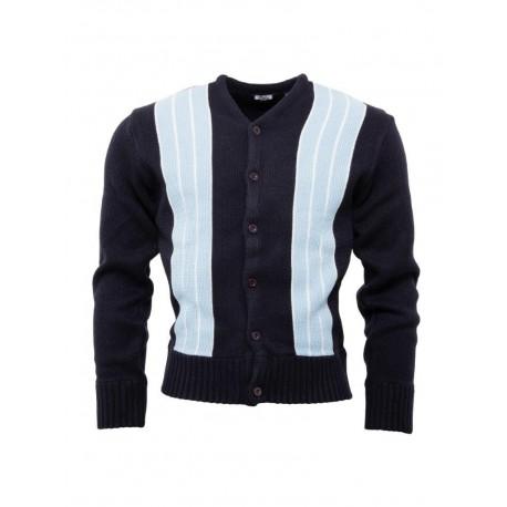 RELCO Mens Stripe Cardigan - NAVY