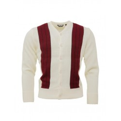 RELCO Mens Stripe Cardigan - CREME