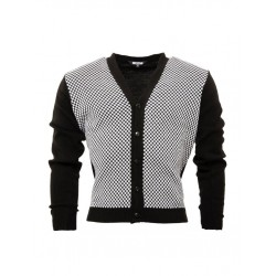 RELCO Mens Black and White Check Cardigan - BLACK