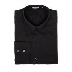 Mens Long Sleeve OXFORD Weave Shirt - BLACK