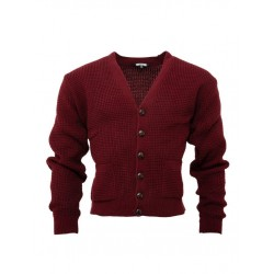 RELCO Mens Waffle Knit Cardigan with Football Style Buttons - BURGUNDY