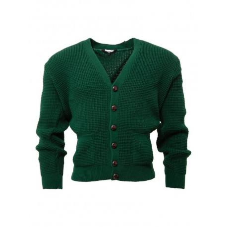 RELCO Mens Waffle Knit Cardigan with Football Style Buttons - BOTTLE GREEN