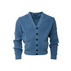 RELCO Mens Waffle Knit Cardigan with Football Style Buttons - DUSTY BLUE