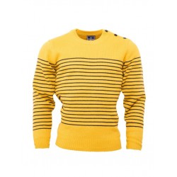 RELCO Mens Stripe Jumper with Anchor Shoulder Buttons - MUSTARD