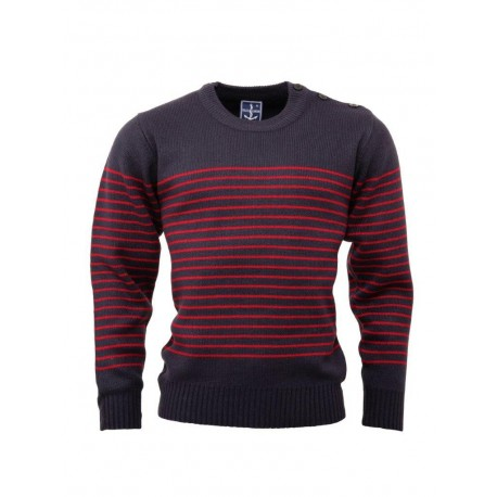 RELCO Mens Stripe Jumper with Anchor Shoulder Buttons - NAVY